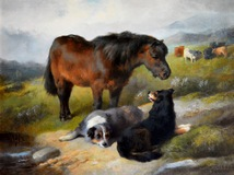 Pony & Dogs by a Stream