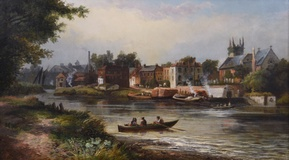 River Thames at Isleworth with All Saints Church & The London Apprentice Pub